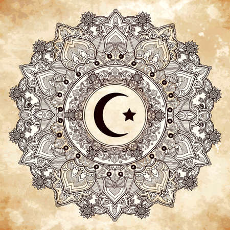 muslim: Islamic crescent moon in elegant circle ornate background. Ideal for Ramadan or any Muslim artwork. Vintage decorative vector elements isolated. Hand drawn paisley background. Tattoo, paper, textiles.