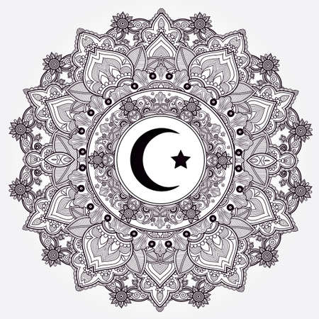 islam: Islamic crescent moon in elegant circle ornate background. Ideal for Ramadan or any Muslim artwork. Vintage decorative vector elements isolated. Hand drawn paisley background. Tattoo, paper, textiles.
