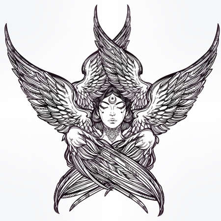 black woman face: Hand drawn romantic six winged Angel. Alchemy, religion, spirituality, occult magic, tattoo art. Isolated vector illustration. Biblical Seraphim deity, Slavonic folk Sirin Alkonost bird of paradise.