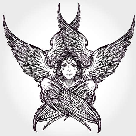 guardian angel: Hand drawn romantic six winged Angel. Alchemy, religion, spirituality, occult magic, tattoo art. Isolated vector illustration. Biblical Seraphim deity, Slavonic folk Sirin Alkonost bird of paradise.