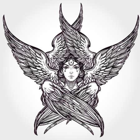 tatouage ange: Tiré par la main romantique six Winged Angel. Alchimie, la religion, la spiritualité, la magie occulte, l'art du tatouage. Isolated illustration vectorielle. Biblique divinité Seraphim, slave folklorique Sirin Alkonost oiseau de paradis.