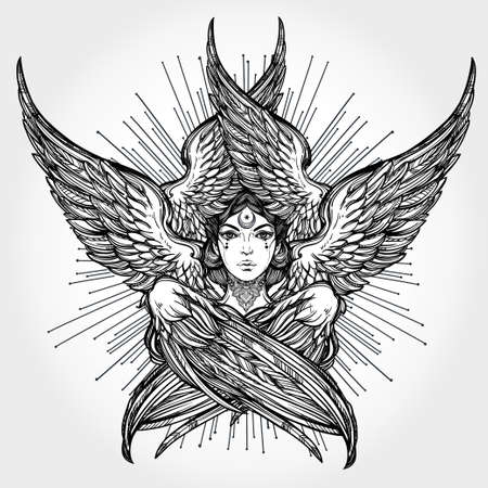 tattoo wings: Hand drawn romantic six winged Angel. Alchemy, religion, spirituality, occult magic, tattoo art. Isolated vector illustration. Biblical Seraphim deity, Slavonic folk Sirin Alkonost bird of paradise.