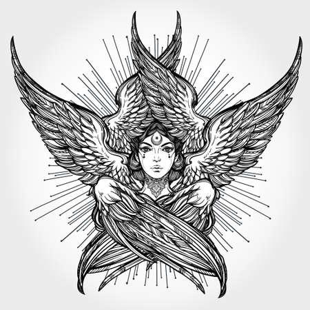 Hand drawn romantic six winged Angel. Alchemy, religion, spirituality, occult magic, tattoo art. Isolated vector illustration. Biblical Seraphim deity, Slavonic folk Sirin Alkonost bird of paradise.