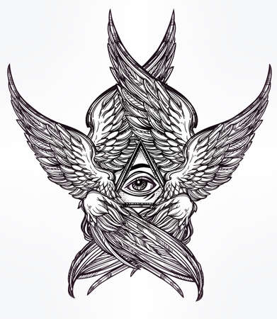 religion: All seeing Eye of Providence. Hand drawn vintage style winged Angel eye. Alchemy, religion, spirituality, occultism, tattoo art. Isolated vector illustration. Biblical Seraphim deity. Omnipotence.