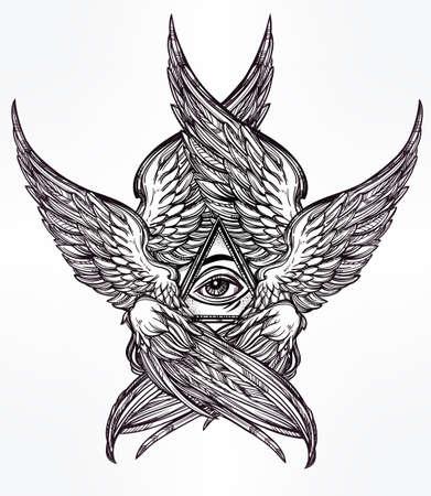 tatouage ange: Tout l'oeil voyant de la Providence. Tir� par la main style vintage ailes oeil Angel. Alchimie, la religion, la spiritualit�, l'occultisme, l'art du tatouage. Isolated illustration vectorielle. Biblique divinit� S�raphins. Omnipotence.