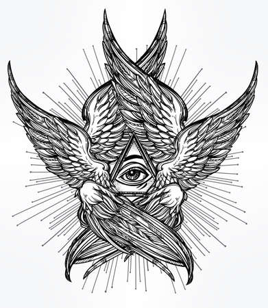 illuminati: All seeing Eye of Providence. Hand drawn vintage style winged Angel eye. Alchemy, religion, spirituality, occultism, tattoo art. Isolated vector illustration. Biblical Seraphim deity. Omnipotence.