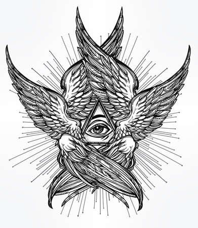 ojos negros: Todo el ojo de la Providencia. Dibujado a mano de estilo vintage con alas ojo Ángel. Alquimia, la religión, la espiritualidad, el ocultismo, el arte del tatuaje. Ilustración vectorial aislado. Bíblica deidad Serafines. Omnipotencia. Vectores
