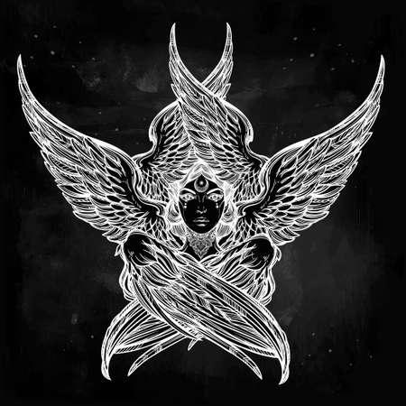 occult: Dibujado a mano rom�ntica de seis alas del �ngel. Alquimia, la religi�n, la espiritualidad, la magia oculta, el arte del tatuaje. Ilustraci�n vectorial aislado. B�blica deidad Serafines, eslava popular Sirin Alkonost ave del para�so.
