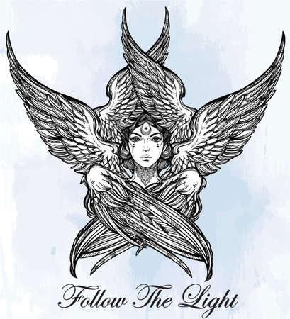biblical: Hand drawn romantic six winged Angel. Alchemy, religion, spirituality, occult magic, tattoo art. Isolated vector illustration. Biblical Seraphim deity, Slavonic folk Sirin Alkonost bird of paradise.