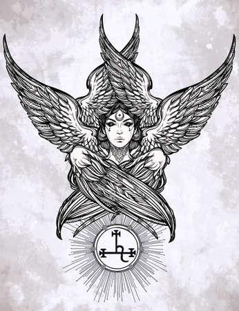 demonio: Dibujado a mano romántica hermosa obra del ángel caído Lilith, demonio con 6 alas, planeta Negro Luna en la astrología. Alquimia, la religión, la espiritualidad, el ocultismo, el arte del tatuaje. Ilustración vectorial aislado. Vectores