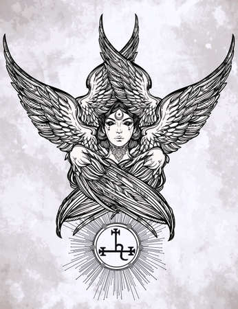 fallen: Hand drawn romantic beautiful artwork of fallen angel Lilith, demon with 6 wings, Black Moon planet in astrology. Alchemy, religion, spirituality, occultism, tattoo art. Isolated vector illustration.