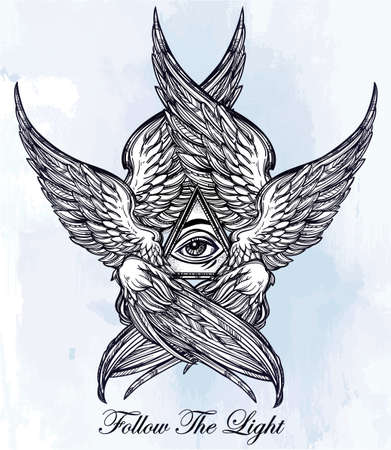 archangel: All seeing Eye of Providence. Hand drawn vintage style winged Angel eye. Alchemy, religion, spirituality, occultism, tattoo art. Isolated vector illustration. Biblical Seraphim deity. Omnipotence.