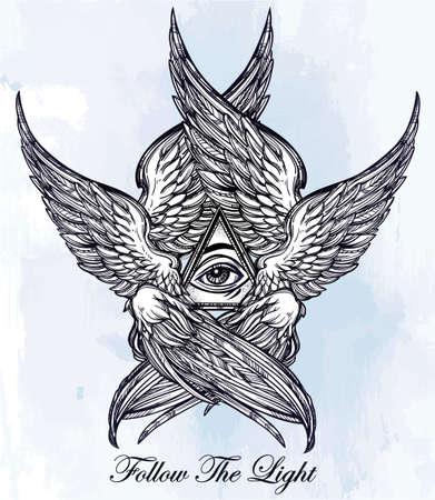 tatouage ange: Tout l'oeil voyant de la Providence. Tiré par la main style vintage ailes oeil Angel. Alchimie, la religion, la spiritualité, l'occultisme, l'art du tatouage. Isolated illustration vectorielle. Biblique divinité Séraphins. Omnipotence.