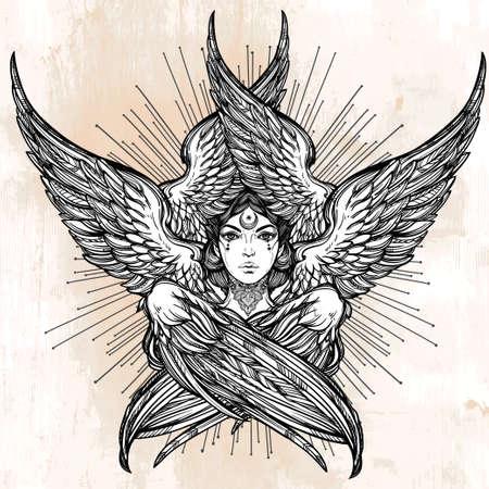 slavonic: Hand drawn romantic six winged Angel. Alchemy, religion, spirituality, occult magic, tattoo art. Isolated vector illustration. Biblical Seraphim deity, Slavonic folk Sirin Alkonost bird of paradise.
