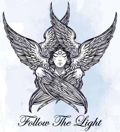 deity: Hand drawn romantic six winged Angel. Alchemy, religion, spirituality, occult magic, tattoo art. Isolated vector illustration. Biblical Seraphim deity, Slavonic folk Sirin Alkonost bird of paradise.