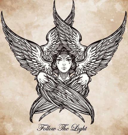 spirituality: Hand drawn romantic six winged Angel. Alchemy, religion, spirituality, occult magic, tattoo art. Isolated vector illustration. Biblical Seraphim deity, Slavonic folk Sirin Alkonost bird of paradise.
