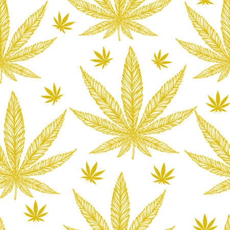 indica: Hemp Cannabis Leaf in vintage linear style - seamless pattern. Marijuana silhouette clip art. Isolated vector illustration .Fabrics, textiles, paper, wallpaper. Retro looking hand drawn ornament.