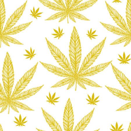 ganja: Hemp Cannabis Leaf in vintage linear style - seamless pattern. Marijuana silhouette clip art. Isolated vector illustration .Fabrics, textiles, paper, wallpaper. Retro looking hand drawn ornament.