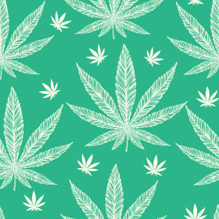 Hemp Cannabis Leaf in vintage linear style - seamless pattern. Marijuana silhouette clip art. Isolated vector illustration .Fabrics, textiles, paper, wallpaper. Retro looking hand drawn ornament.