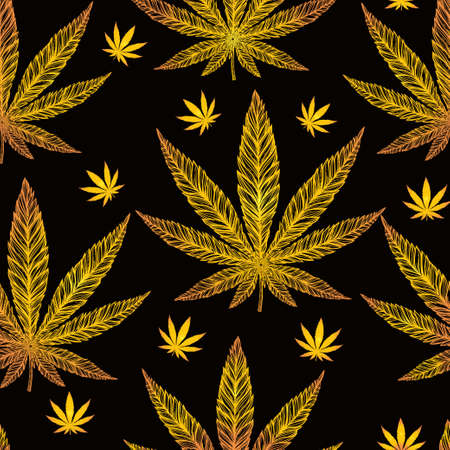 gold leaf: Hemp Cannabis Leaf in vintage linear style - seamless pattern. Marijuana silhouette clip art. Isolated vector illustration .Fabrics, textiles, paper, wallpaper. Retro looking hand drawn ornament.