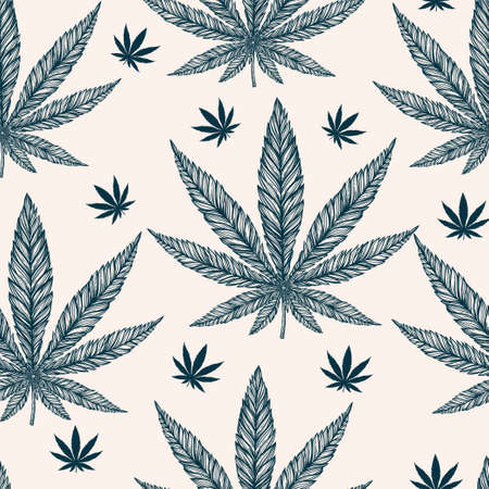 ganja: Hemp Cannabis Leaf in vintage linear style - seamless pattern. Marijuana silhouette clip art. Isolated vector illustration .Fabrics, textiles, paper, wallpaper. Retro looking hand drawn ornament.