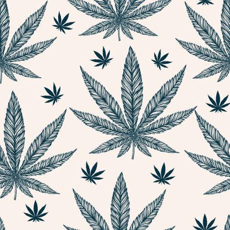 marihuana leaf: Hemp Cannabis Leaf in vintage linear style - seamless pattern. Marijuana silhouette clip art. Isolated vector illustration .Fabrics, textiles, paper, wallpaper. Retro looking hand drawn ornament.