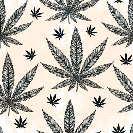 graphic art: Hemp Cannabis Leaf in vintage linear style - seamless pattern. Marijuana silhouette clip art. Isolated vector illustration .Fabrics, textiles, paper, wallpaper. Retro looking hand drawn ornament.