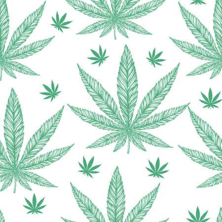 marihuana: Cáñamo Cannabis Leaf en el estilo lineal de época - sin patrón. La marihuana arte silueta clip. Ilustración vectorial aislado .Fabrics, textiles, papel, papel tapiz. Retro looking mano dibujada ornamento.