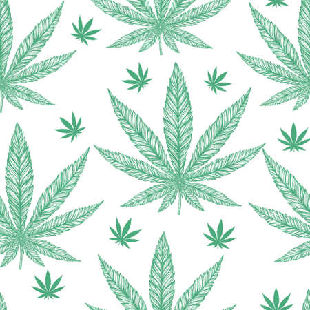 cannabis sativa: Hemp Cannabis Leaf in vintage linear style - seamless pattern. Marijuana silhouette clip art. Isolated vector illustration .Fabrics, textiles, paper, wallpaper. Retro looking hand drawn ornament.