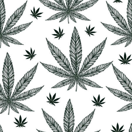 interior wallpaper: Hemp Cannabis Leaf in vintage linear style - seamless pattern. Marijuana silhouette clip art. Isolated vector illustration .Fabrics, textiles, paper, wallpaper. Retro looking hand drawn ornament.