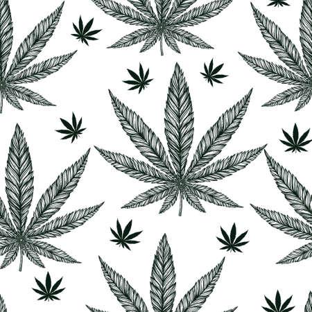 Hemp Cannabis Leaf in vintage linear style - seamless pattern. Marijuana silhouette clip art. Isolated vector illustration .Fabrics, textiles, paper, wallpaper. Retro looking hand drawn ornament.