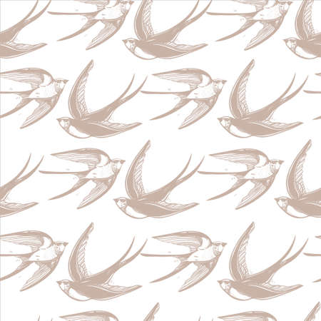 bird flying: Vintage elegant seamless pattern with Swallows in the clouds. Hand drawn  flying birds background .Isolated vector illustration. Design for fabrics, textiles, paper, wallpaper. Retro style ornament. Illustration