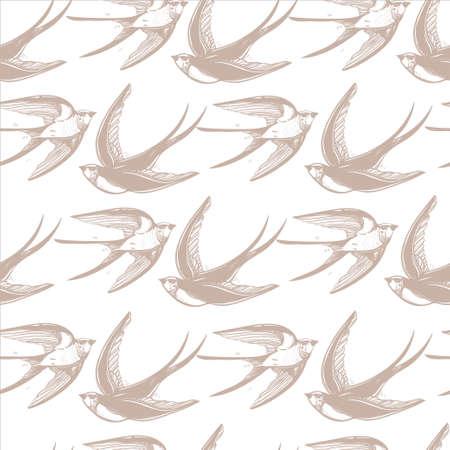 golondrina: Vintage elegante patrón con los tragos en las nubes. Dibujado a mano aves voladoras fondo .isolated ilustración vectorial. Diseño para las telas, textiles, papel, papel tapiz. Ornamento del estilo retro.
