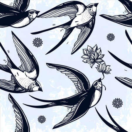 old style: Vintage elegant seamless pattern with Swallows in the clouds. Hand drawn  flying birds background .Isolated vector illustration. Design for fabrics, textiles, paper, wallpaper. Retro style ornament. Illustration