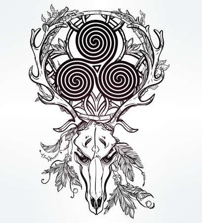 venado: Arte hermoso scull tatuaje. Estilo pagano cráneo de los ciervos de la vendimia. Antlers con Celtic signo triskel en ellos. Dibujado a mano el trabajo de esquema. Ilustración vectorial aislado.