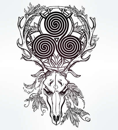 Beautiful scull tattoo art. Vintage deer skull pagan style. Antlers with Celtic triskel sign in them. Hand drawn outline work. Isolated vector illustration.