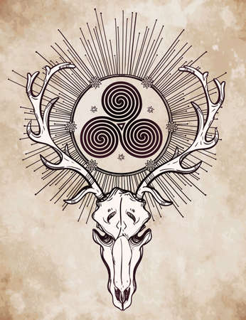 triskele: Beautiful scull tattoo art. Vintage deer skull pagan style. Antlers with Celtic triskel sign in them. Hand drawn outline work. Isolated vector illustration.