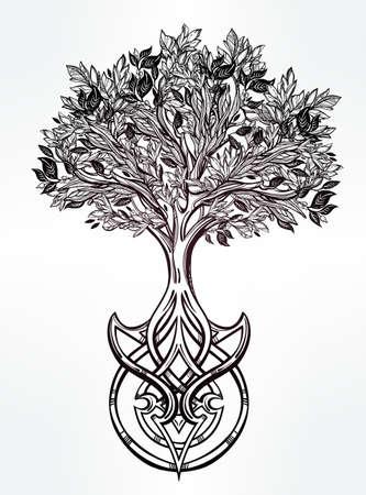 arbol geneal�gico: Dibujado a mano rom�ntico hermoso dibujo del �rbol de la vida. Ilustraci�n vectorial aislado. Dise�o �tnico, s�mbolo tribal m�stico para su uso.