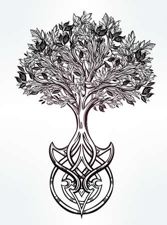 hand tree: Hand drawn romantic beautiful drawing of Tree of life. Vector illustration isolated. Ethnic design, mystic tribal symbol for your use.
