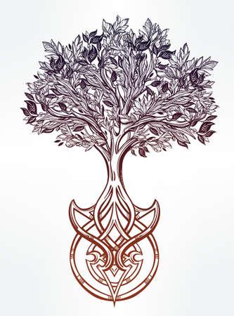 yaşam tarzı: El hayatın Ağacı romantik güzel çizim çizilmiş. Vektör illüstrasyon izole. Etnik tasarımı, kendi kullanımınız için mistik kabile sembolü. Çizim