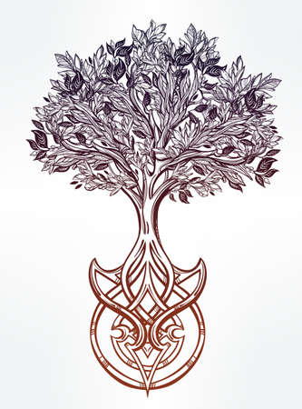 trunks: Hand drawn romantic beautiful drawing of Tree of life. Vector illustration isolated. Ethnic design, mystic tribal symbol for your use.