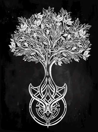 lives: Hand drawn romantic beautiful drawing of Tree of life. Vector illustration isolated. Ethnic design, mystic tribal symbol for your use.