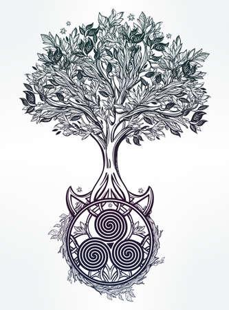 El hayatın Ağacı romantik güzel çizim çizilmiş. Vektör illüstrasyon izole. Etnik tasarımı, kendi kullanımınız için mistik kabile sembolü. Çizim