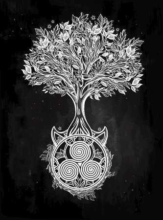 witchcraft: Hand drawn romantic beautiful drawing of Tree of life. Vector illustration isolated. Ethnic design, mystic tribal symbol for your use.
