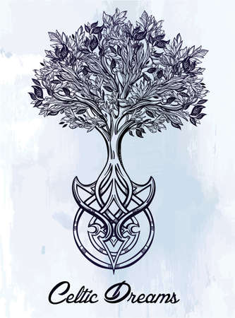 pagan: Hand drawn romantic beautiful drawing of Tree of life. Vector illustration isolated. Ethnic design, mystic tribal symbol for your use.