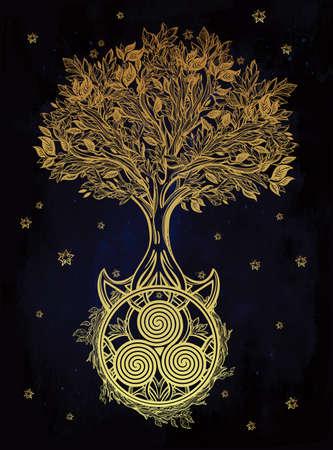 birretes: Dibujado a mano romántico hermoso dibujo del árbol de la vida. Ilustración vectorial aislado. Diseño étnico, símbolo tribal místico para su uso.