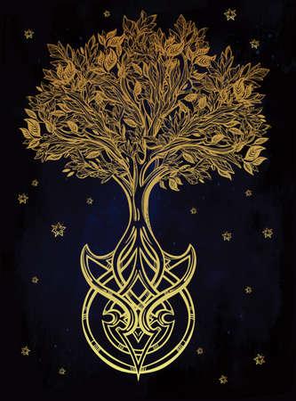 arbol de la vida: Dibujado a mano romántico hermoso dibujo del árbol de la vida. Ilustración vectorial aislado. Diseño étnico, símbolo tribal místico para su uso.