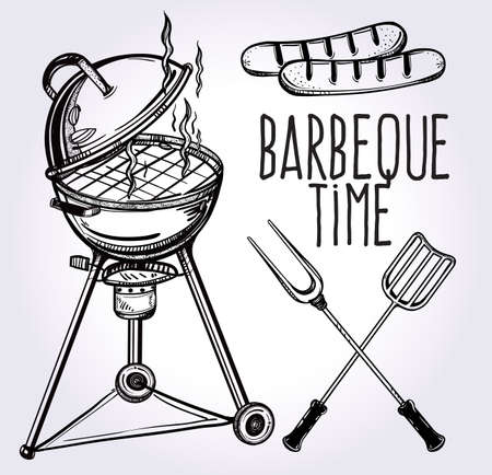 barbecue: A set of retro style barbecue line art icons. BBQ  utensils. Grill stove, tongs and spatula and grilled sausage. Hand drawn isolated vector illustration.