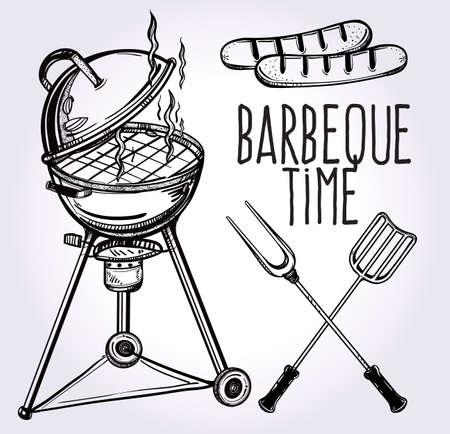 barbecue: Un conjunto de barbacoa estilo de iconos retro arte de l�nea. Utensilios para barbacoa. Estufa Grill, pinzas y una esp�tula y salchichas a la parrilla. Dibujado a mano ilustraci�n vectorial aislado.