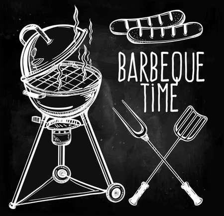 grill tongs sausage: A set of retro style barbecue line art icons. BBQ  utensils. Grill stove, tongs and spatula and grilled sausage. Hand drawn isolated vector illustration.
